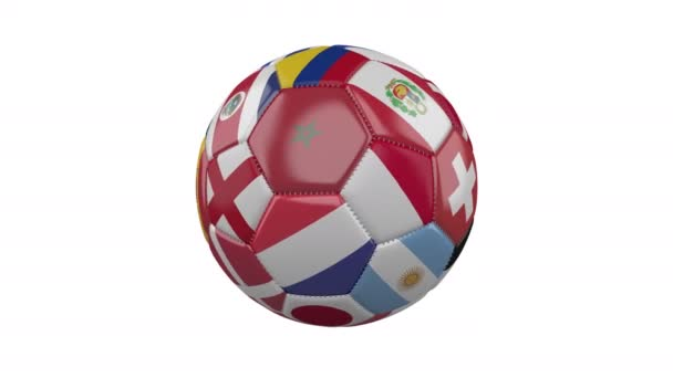 Rotating soccer ball with flags of the countries of the world on a white background, loop