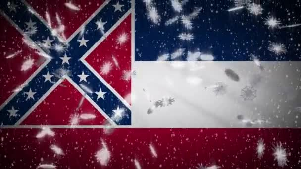 Mississippi flag falling snow, New Year and Christmas background, loop