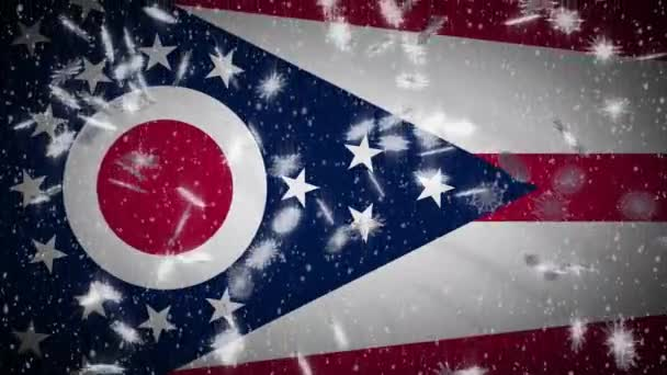 Ohio flag falling snow, New Year and Christmas background, loop
