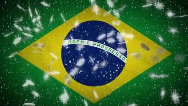 Brazilia flag falling snow loopable, New Year and Christmas background, loop