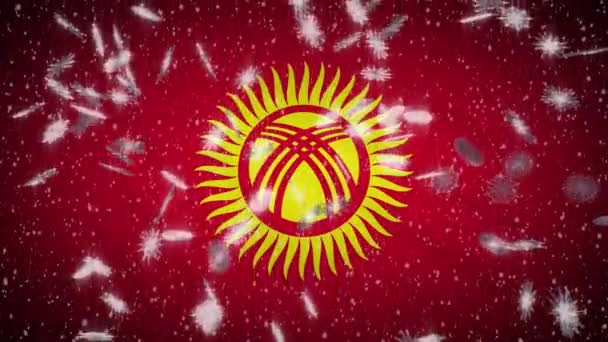 Kyrgyzstan flag falling snow loopable, New Year and Christmas background, loop