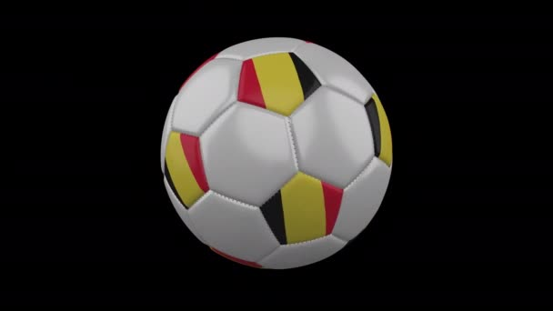 Belgium flag on a ball rotates on a transparent background, alpha channel loop