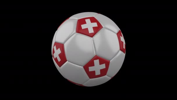 Switzerland flag on a ball rotates on a transparent background, alpha channel loop