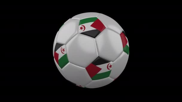 Western Sahara flag on ball rotates on transparent, alpha channel loop