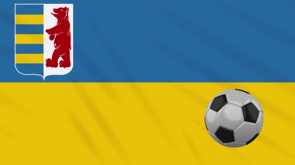 Zakarpattia Oblast flag and soccer ball rotates on background of waving cloth, loop