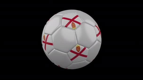 Parishes of Jersey flag on ball rotates on alpha transparency, loop