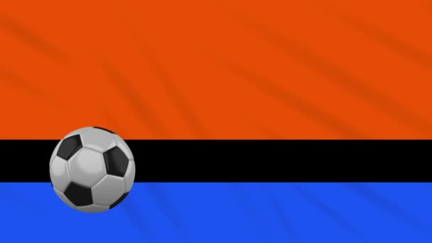Chagos Islands flag and soccer ball rotates against background of a waving cloth, loop