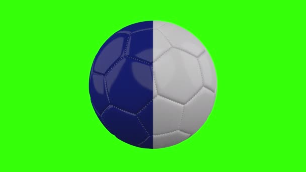 France flag on ball rotates on transparent green alpha background, loop