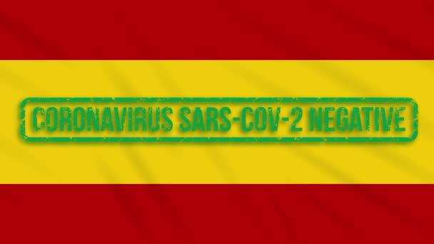 Spanyolország lengő zászló zöld bélyegzőjével mentes a koronavírustól, hurok