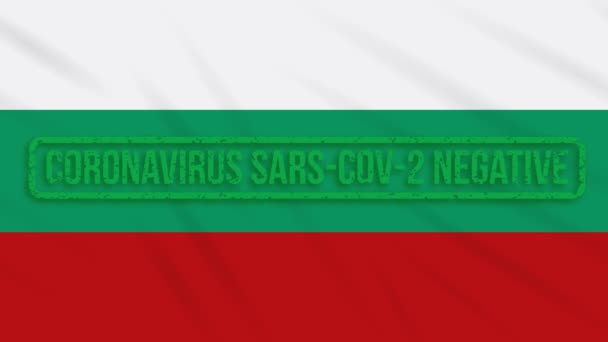 Bulgaria swaying flag with a green stamp of freedom from coronavirus, loop