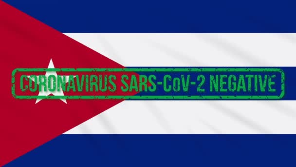 Cuba swaying flag with green stamp of freedom from coronavirus, loop