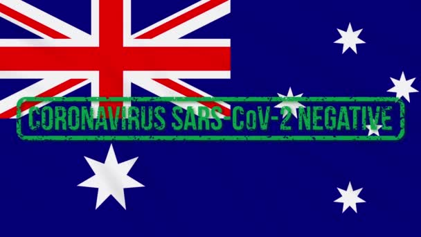 Australia swaying flag with green stamp of freedom from coronavirus, loop