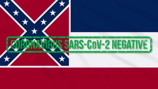 Mississippi US state swaying flag with green stamp of freedom from coronavirus, loop
