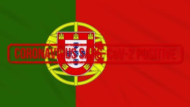 Portugália lengő lobogó, pozitív reakcióval a COVID-19-re, loop