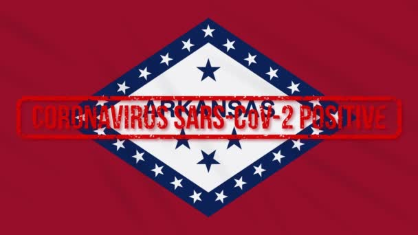 Arkansas US state swaying flag stamped with positive response to COVID-19, loop