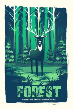 poster with a deer in the woods