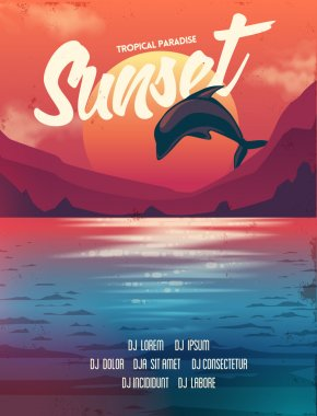 poster sunset with dolphin