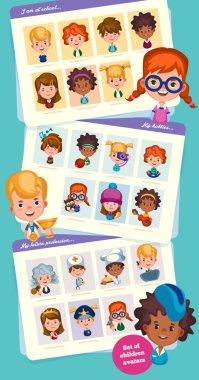 Set of children avatars.