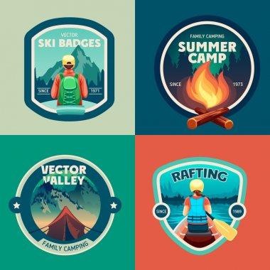 Set of outdoor adventure camp labels