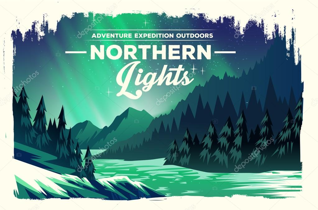 landscape with green northern lights