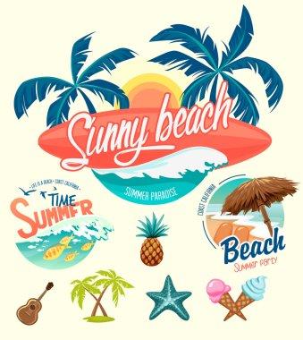Set of Summer surfing badges