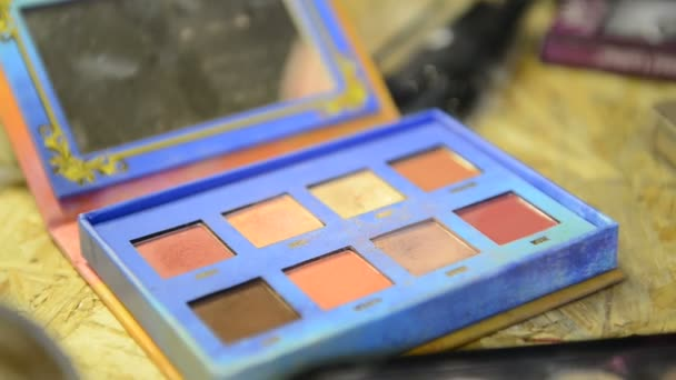 Close-up shooting of palette with taking rouge with brush for make-up