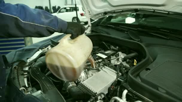 Mechanik v dílně přidat olej do motoru pod kapotou vozu.