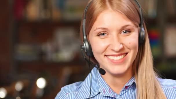 Call center worker at office closeup