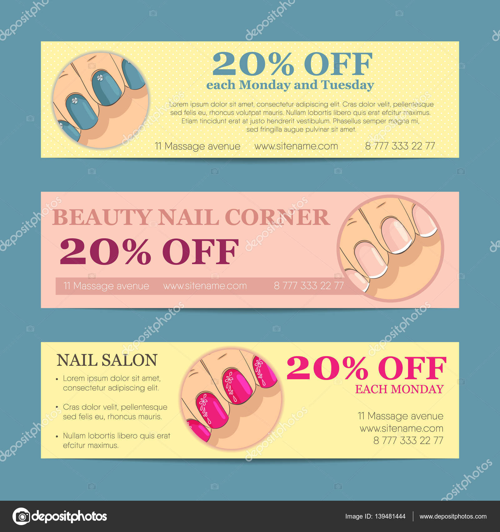 Set of horizontal banner, flyer, business card or discount coupon ...