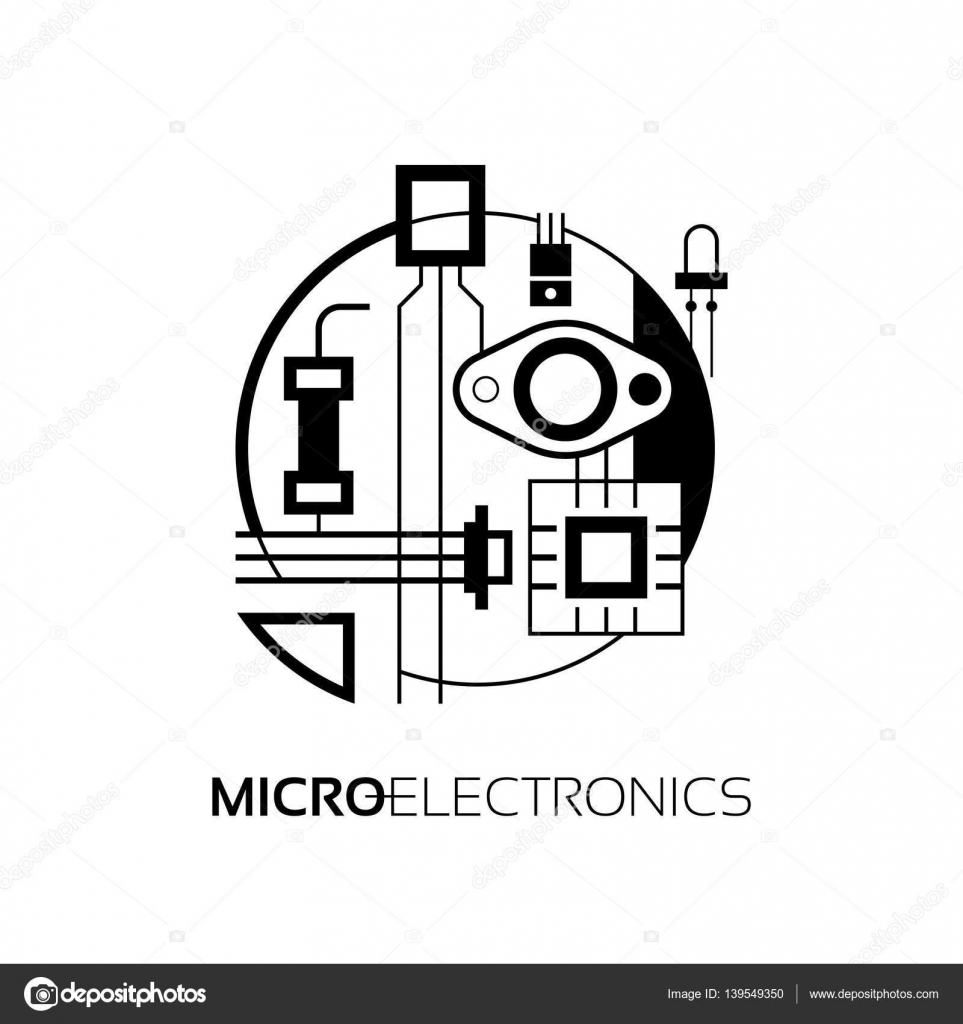 Electronic components. The sign and symbol for creation of logo ...