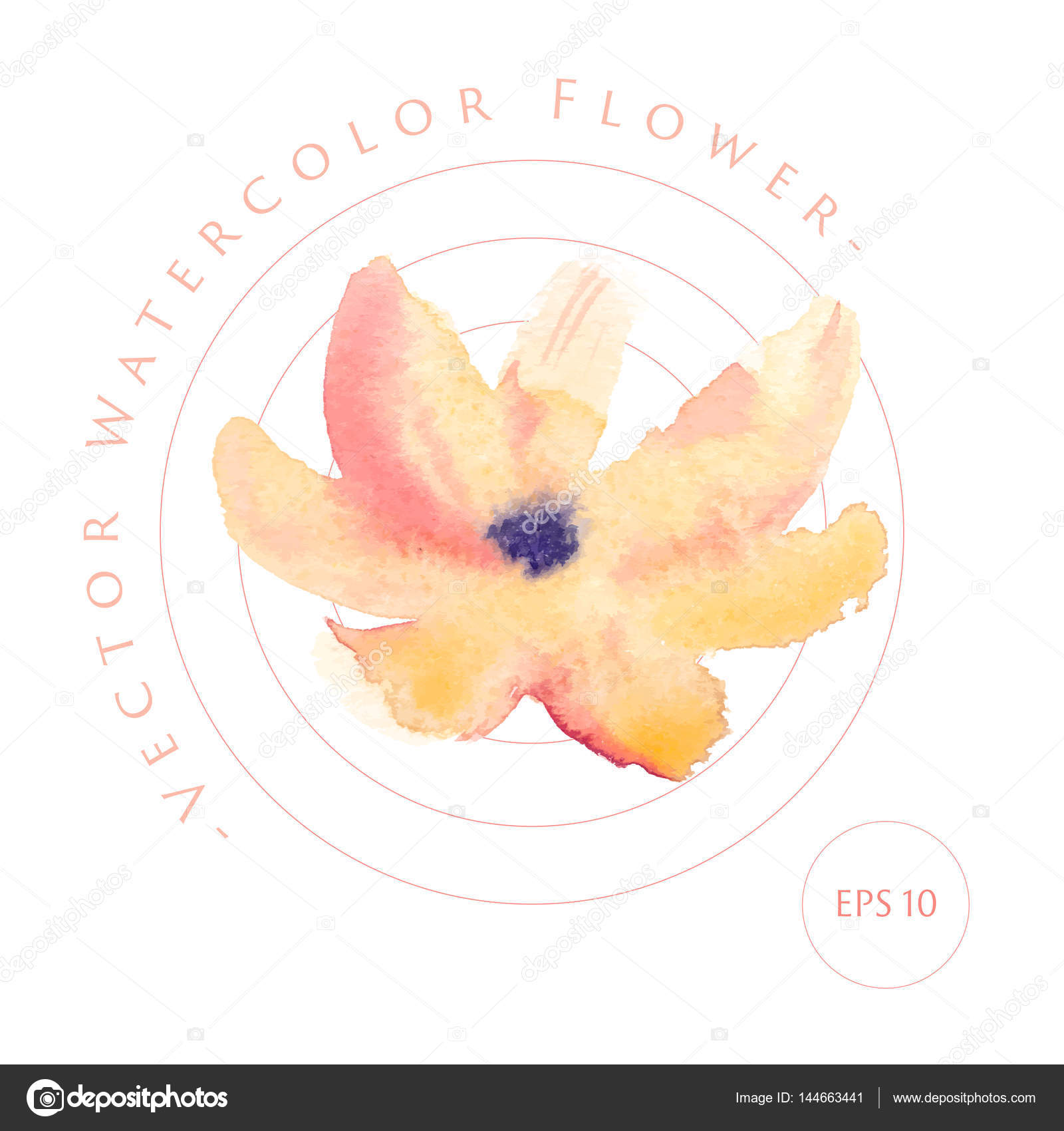 Vector Watercolor Logo Image With Flower Branch And Leaf Stock