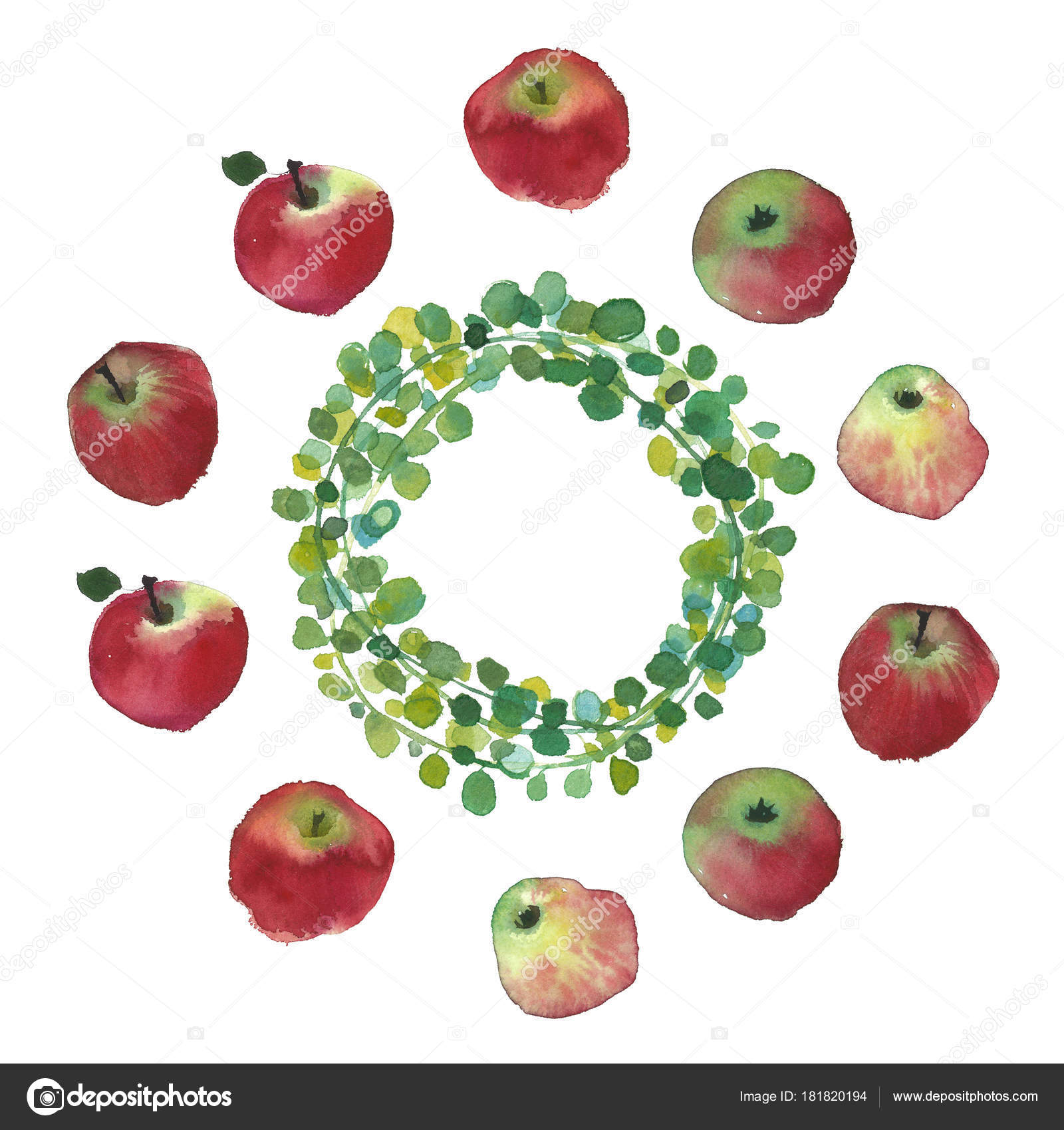 Traditional Russian Fruits Apples Watercolor Rustic Wedding Image