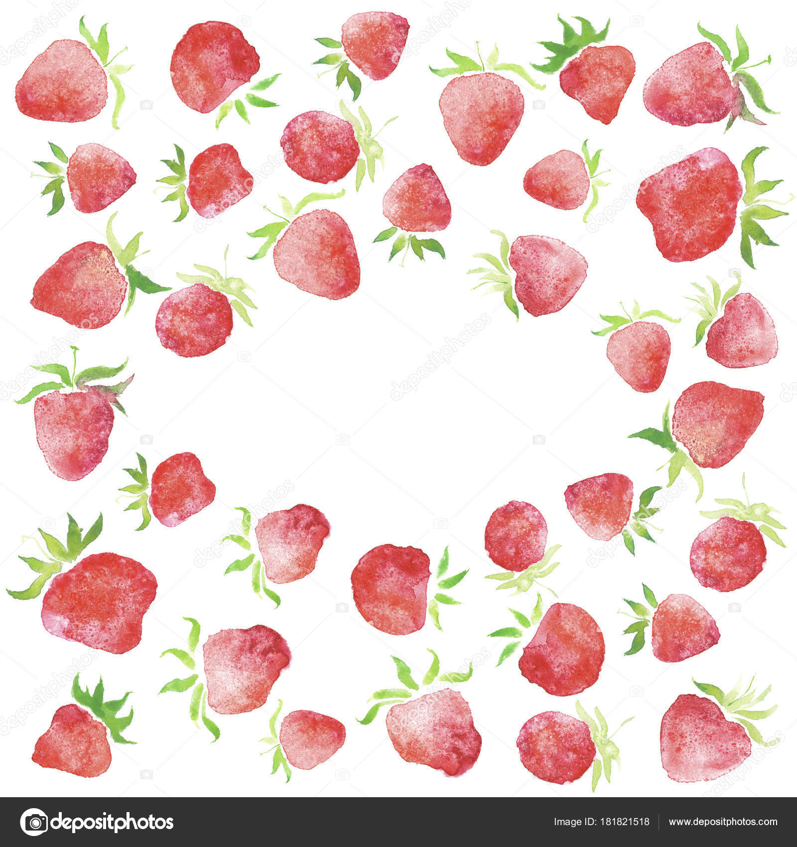 Watercolor Strawberries Wedding Rustic Framed Wreath Rural Restaurant Banner Background Stock Photo