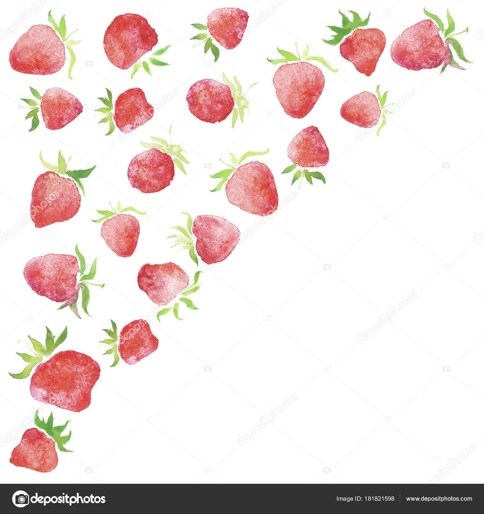 Aquarell Erdbeeren Gerahmt Hochzeit Rustikal Kranz Ländlichen ...