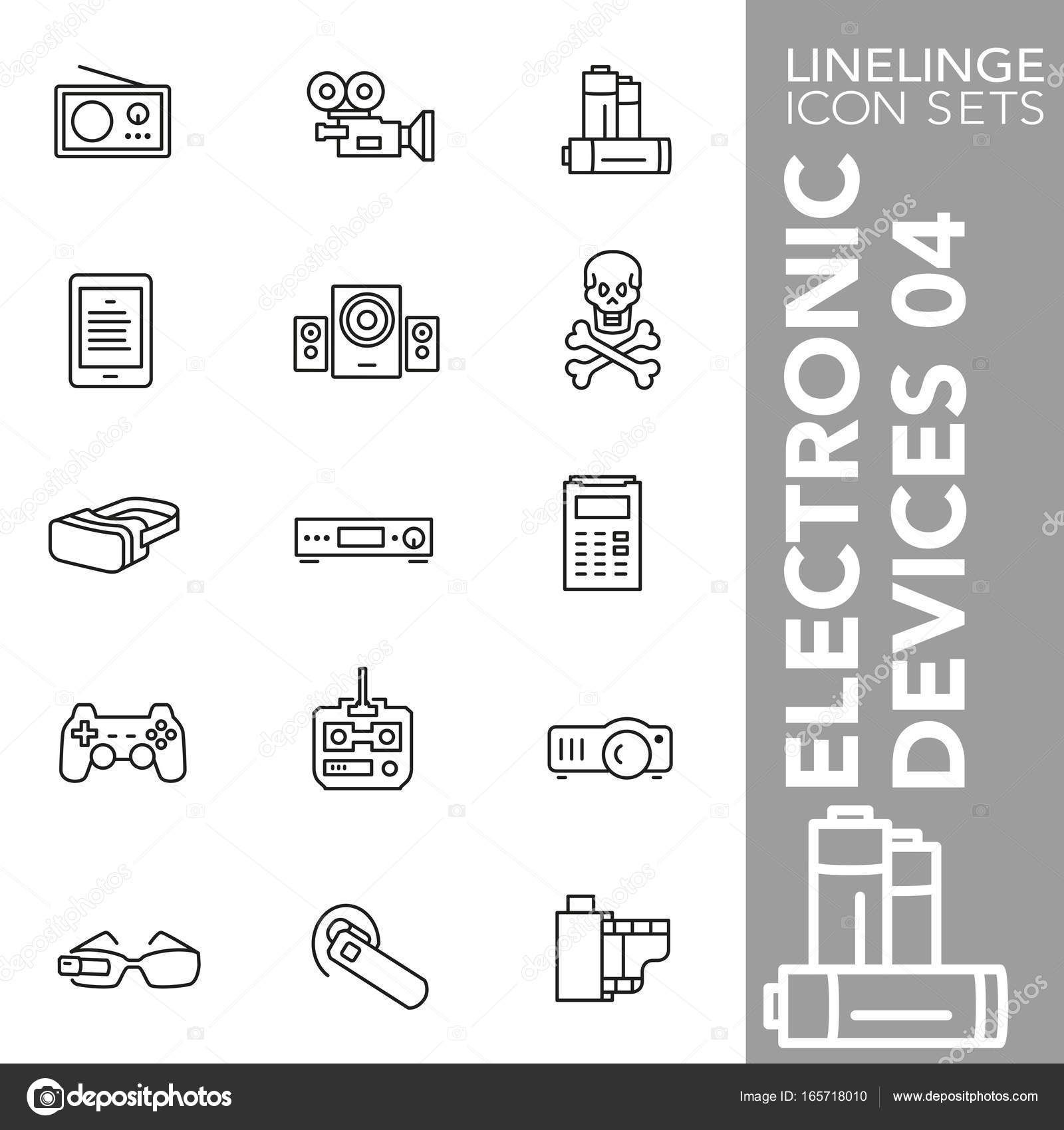 Premium stroke icon set of electronics, technology, technical ...