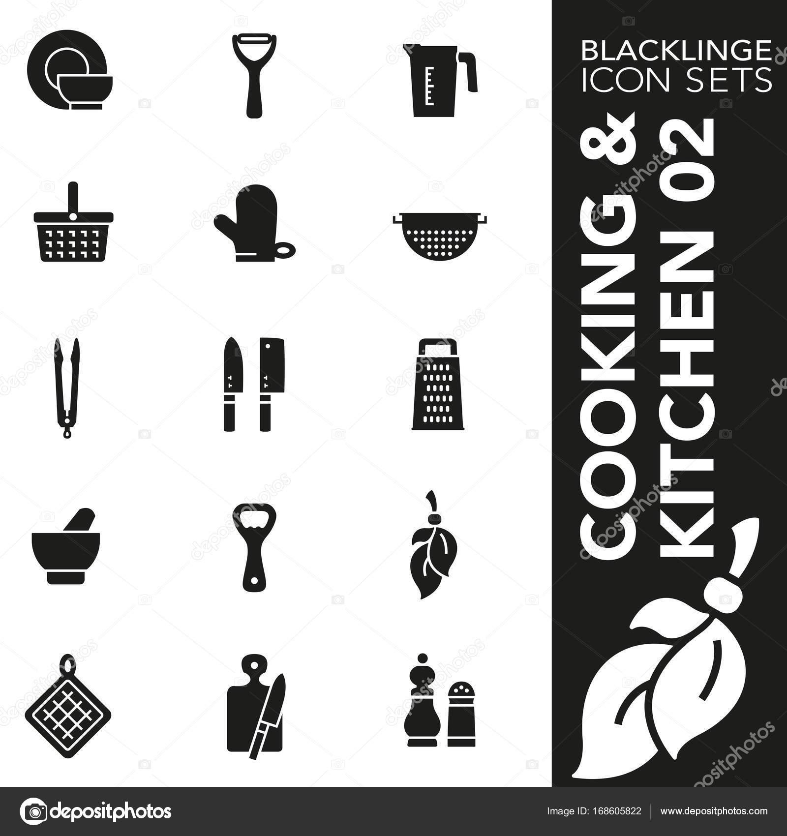 Blacklinge Kochen und Küche 02 schwarz und weiß-Icon-sets ...