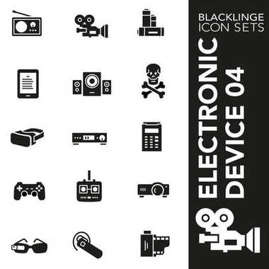 Premium black and white icon set of electronic device, technology and electronics 04. Blacklinge, modern black and white symbol collection