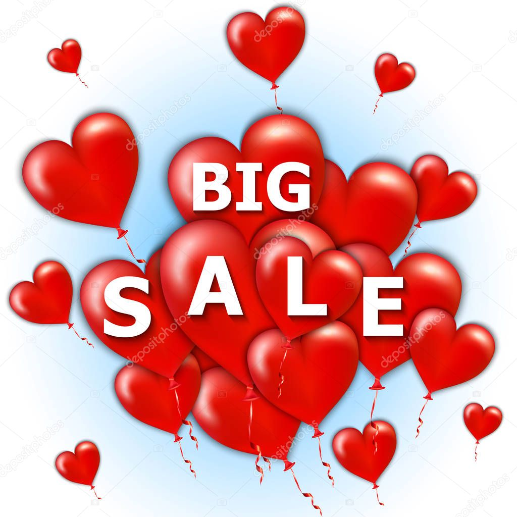 Happy Valentine's Day big sale card with flying bunch of red balloon hearts. Vector illustration