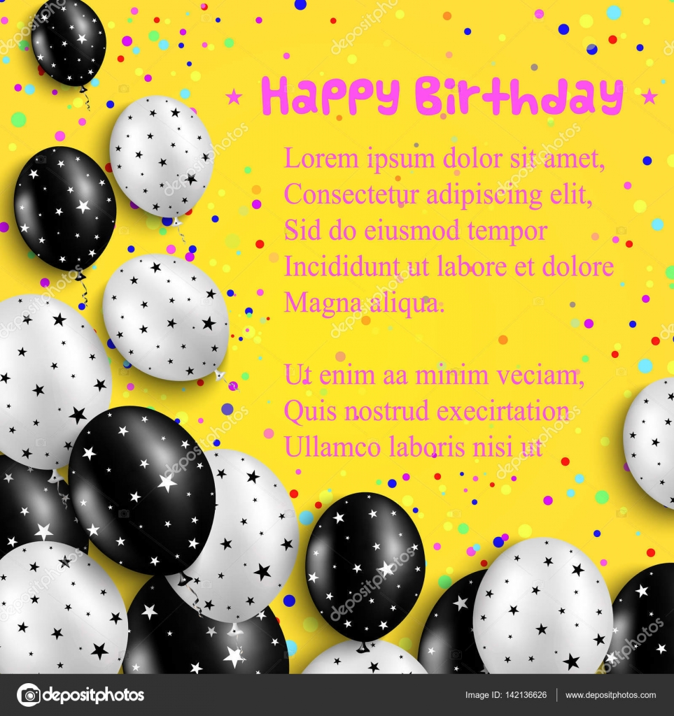 Birthday Card With Black And White Balloons Stars On Bright Yellow Background Vector Illustration Stock