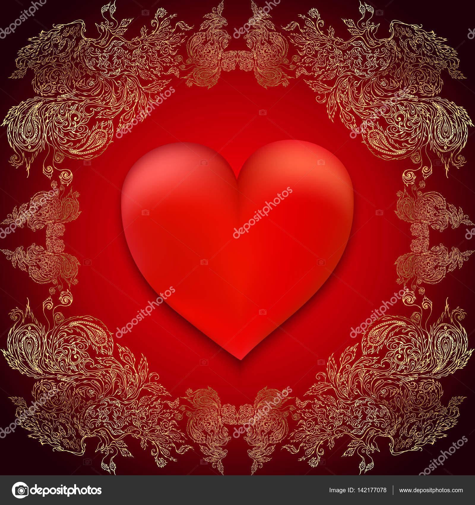 Romantische rote Valentine Karte mit Herzen und Gold Rahmen. Vektor ...