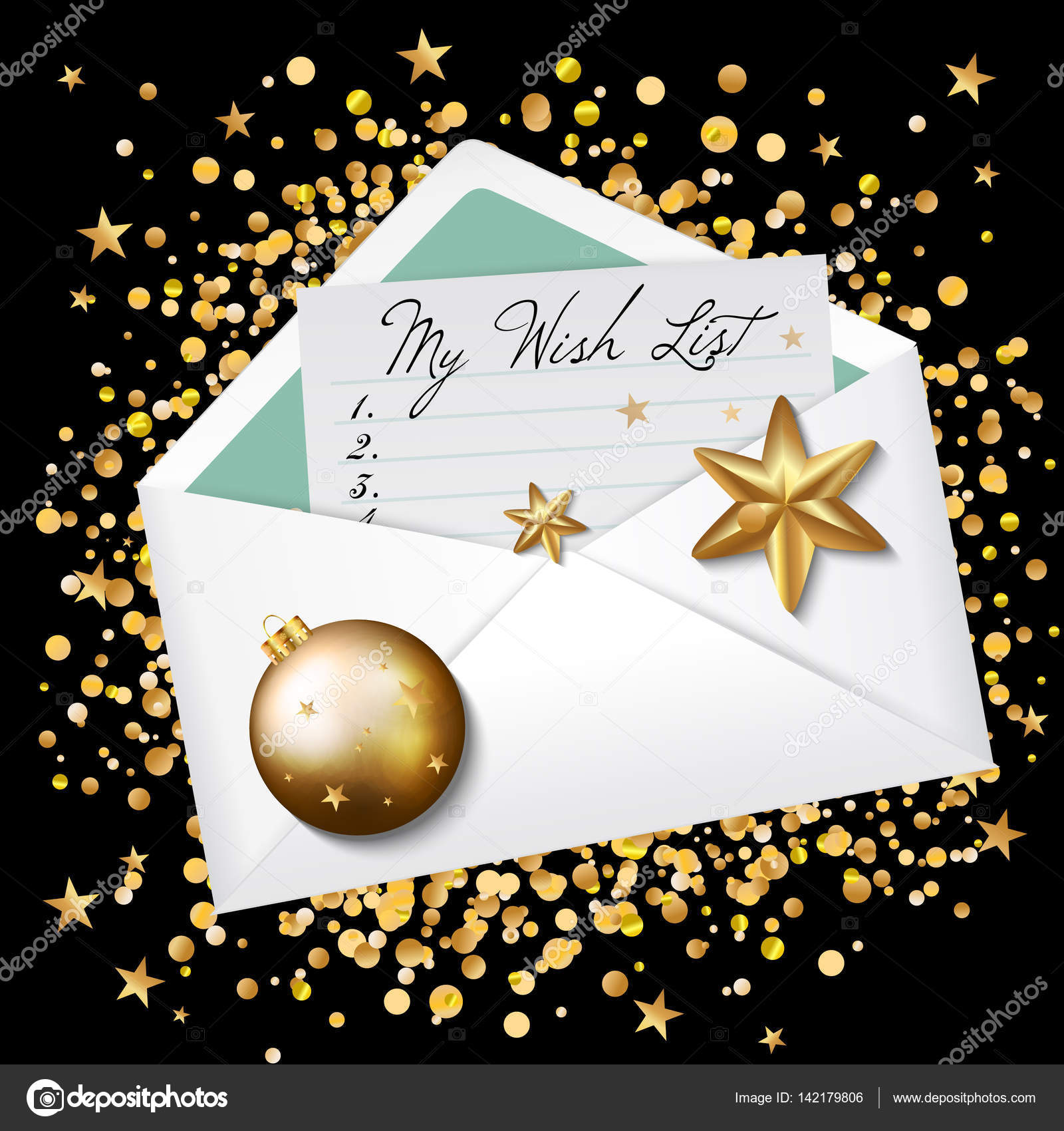 Open Envelope With My Wish List Words Wishes For New Year 2017