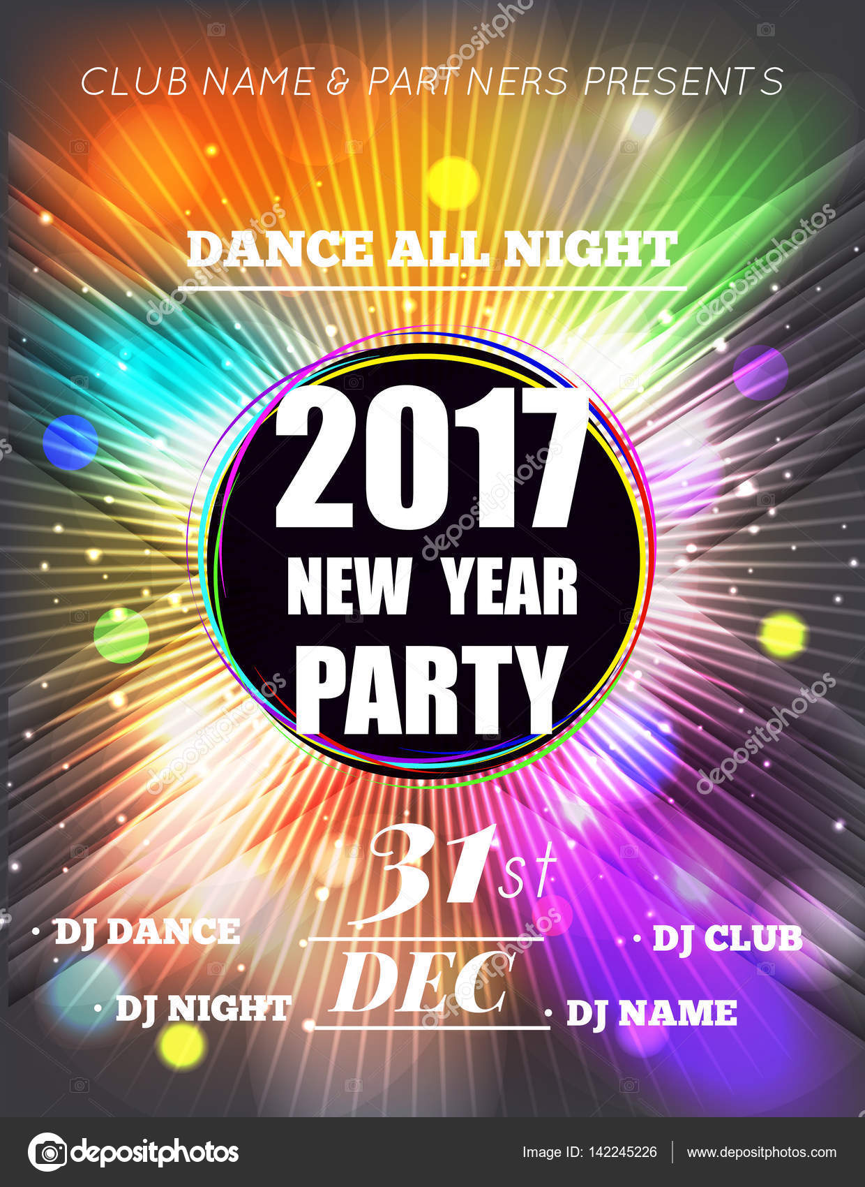 christmas party poster happy 2017 new year flyer new year party design with multicolored