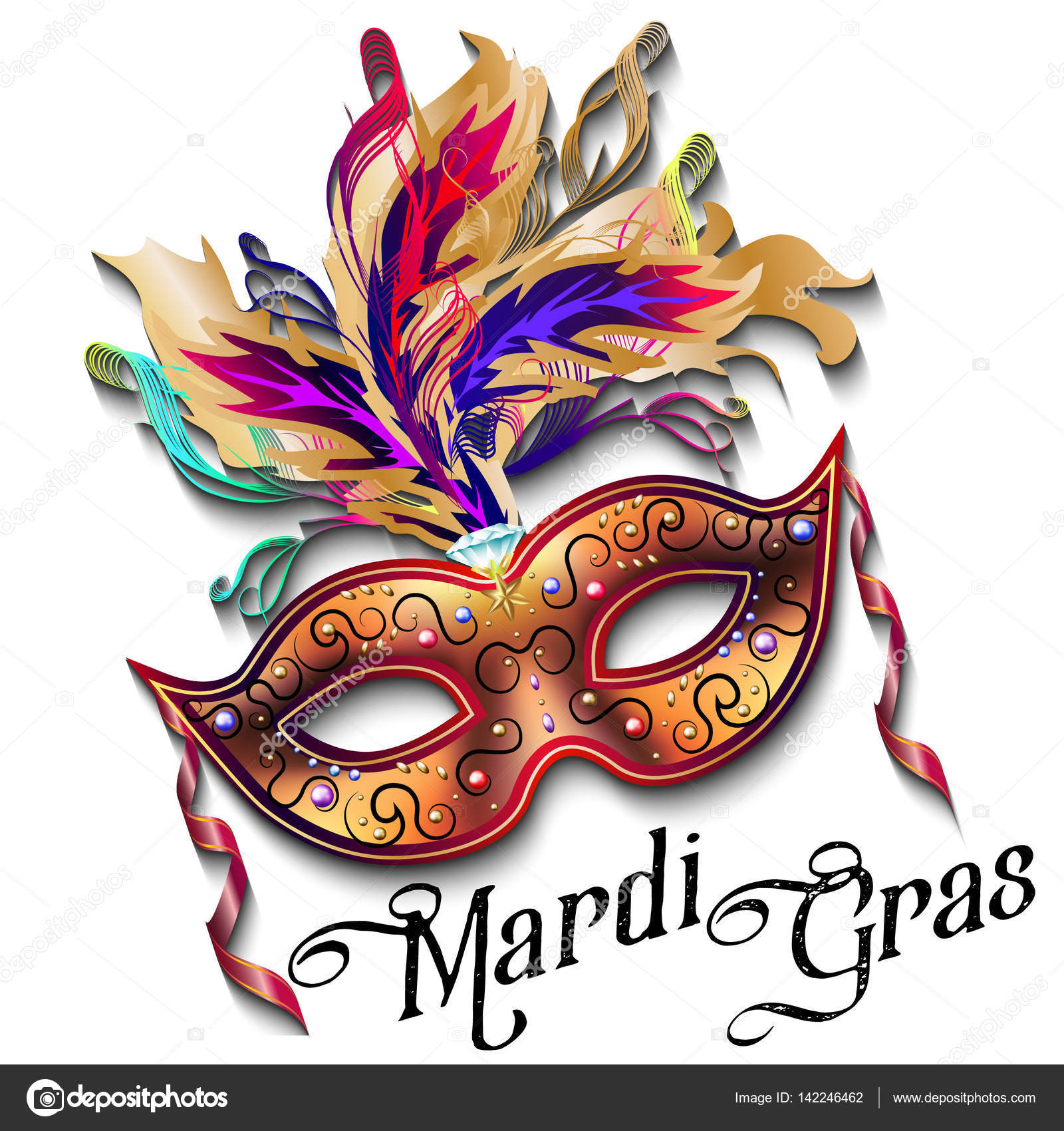 Mardi Gras Mask Isolated On White Background Colorful Poster Template Flyer Vector