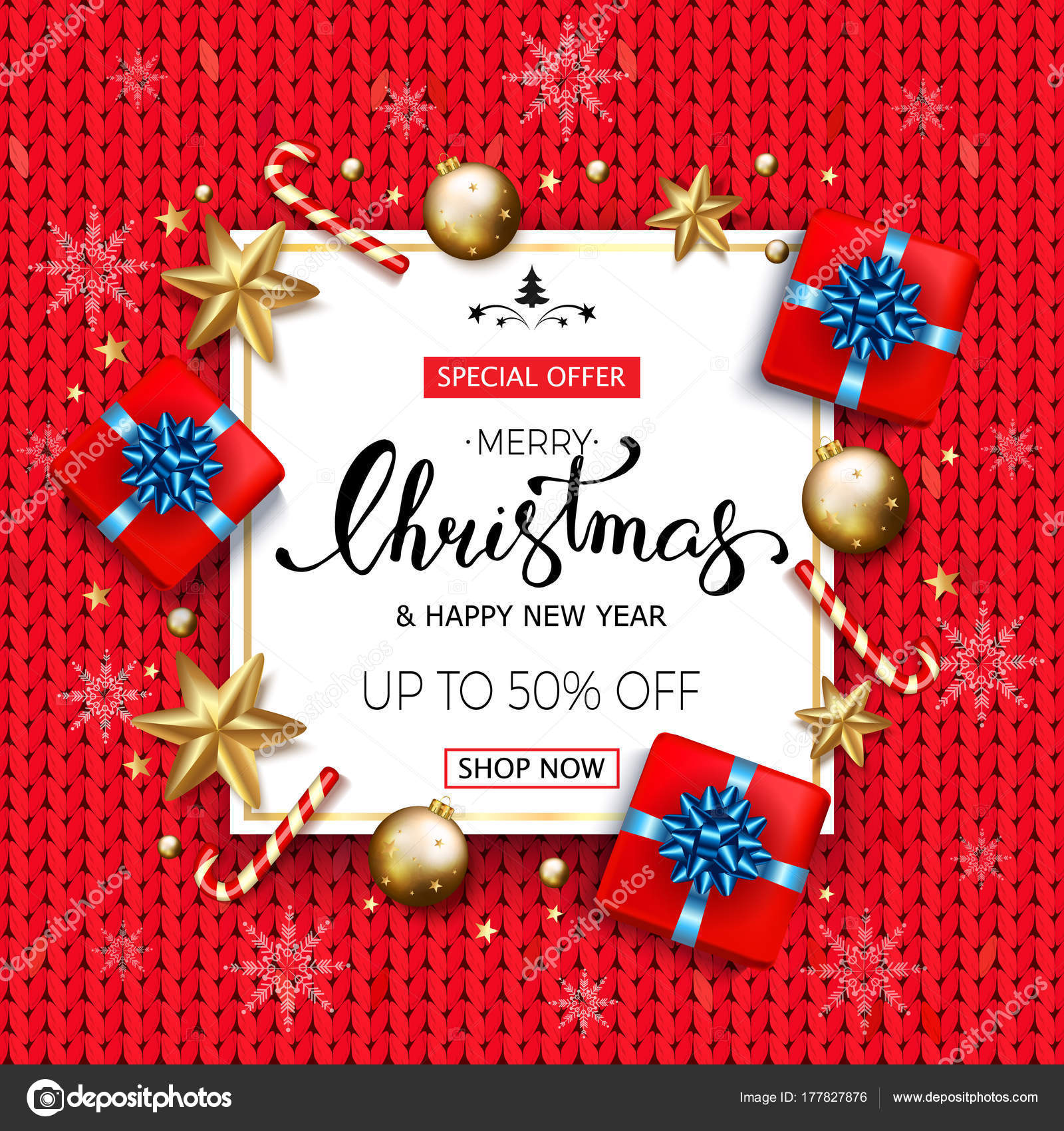 93c94df68896 Merry Christmas sale banner with gift boxes golden stars and bub — Stock  Vector