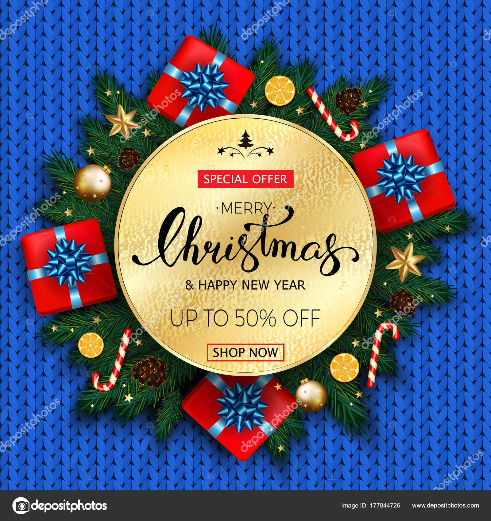 Banner venta de feliz Navidad con abeto, regalo, caramelo de ...