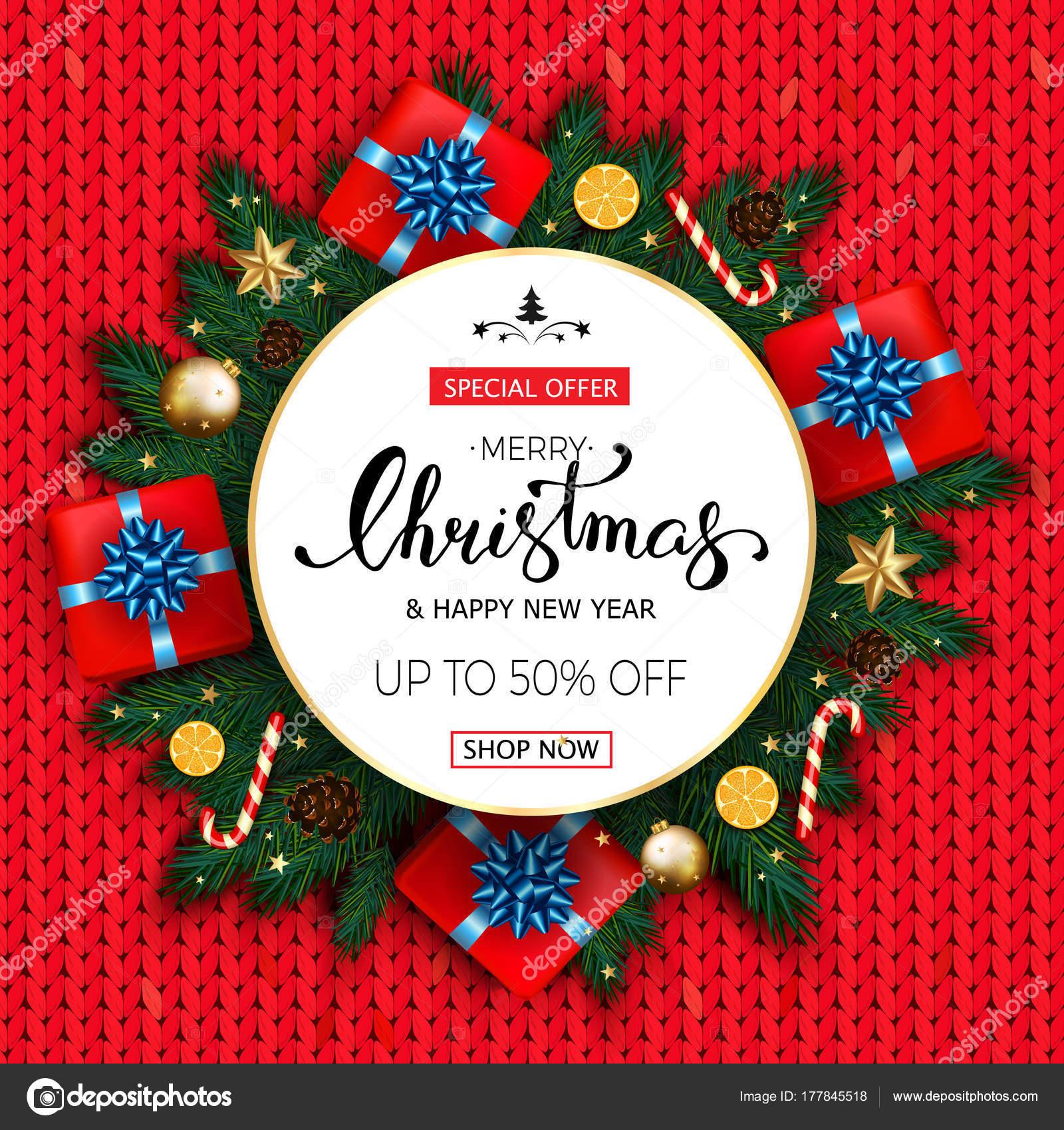 Frohe Weihnachten-Verkauf-Banner mit Tannenbaum, Geschenk ...