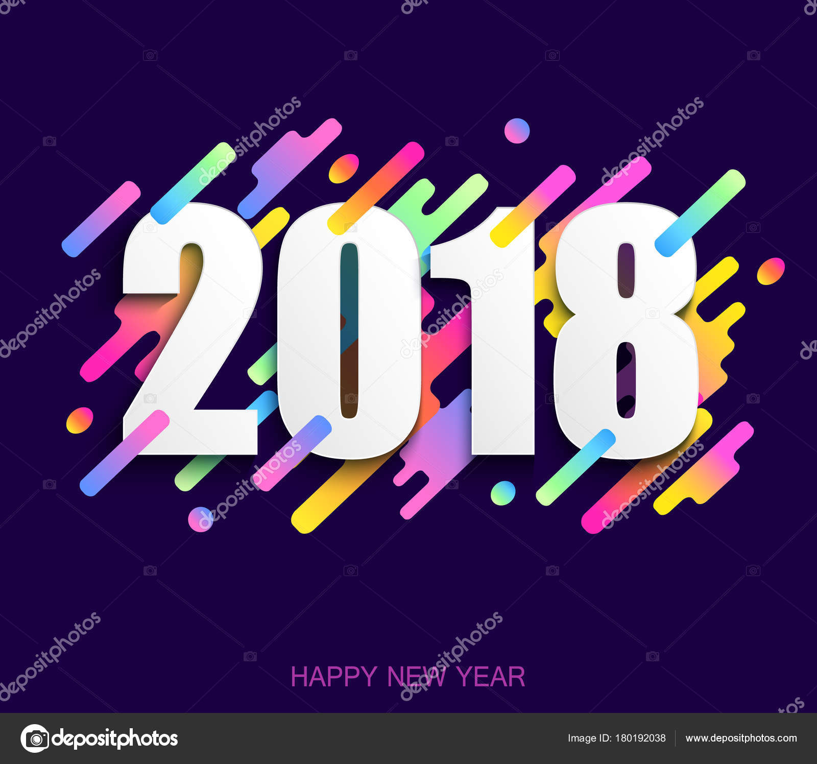 happy new year 2018 creative design card on modern background v stock vector