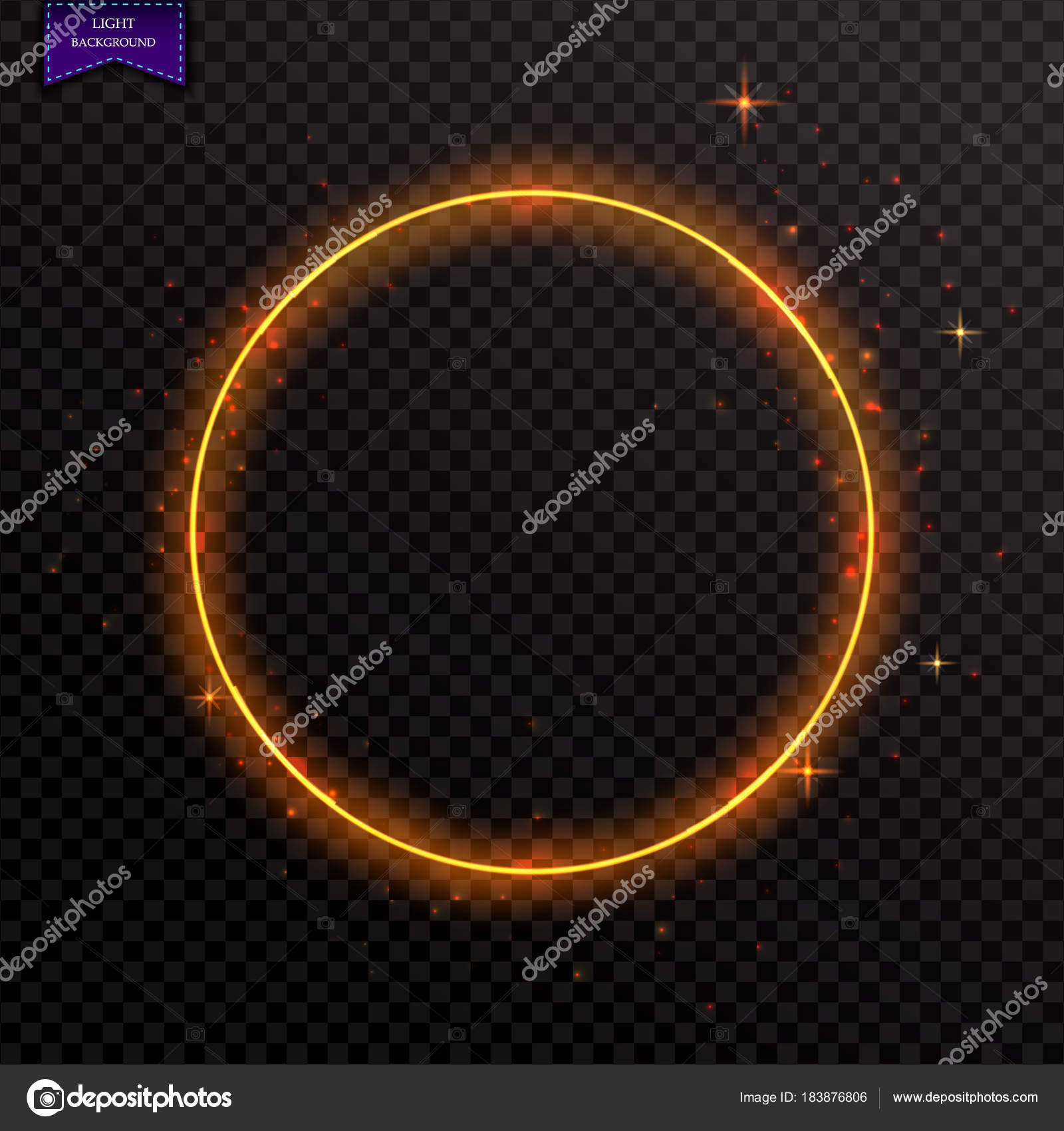 Vector glowing magic round frame. Glowing neon fire wave. Glitte ...