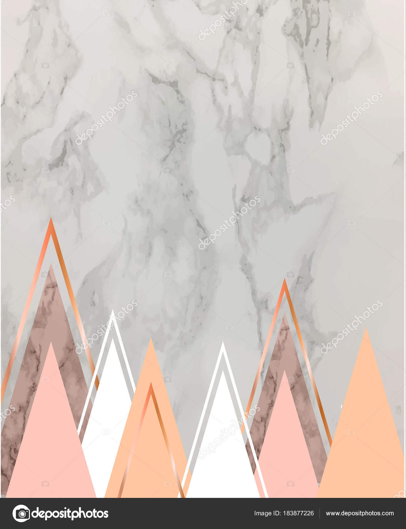 Marble Background With Rose Gold Triangles Geometric Print For