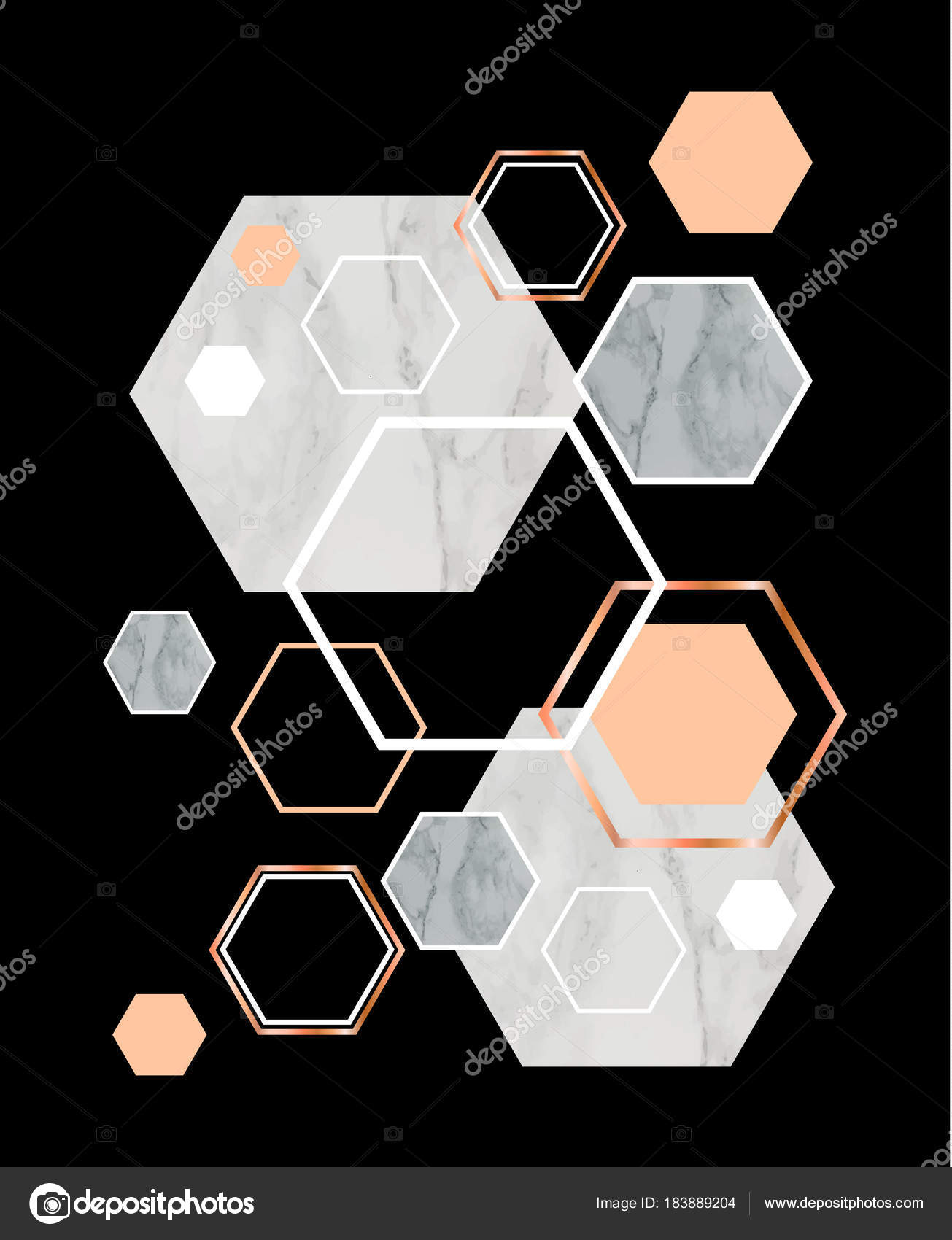 Rose Gold Black Marble Wallpaper Black Background With Marble Rose Gold Hexagons Geometric Prin Stock Vector C Illizium 183889204